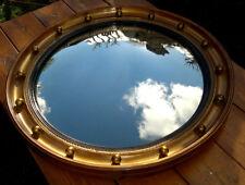 "Antique Gilt Wood Gesso Convex Mirror Butlers-Porthole Mirror 17.5"" Diameter"