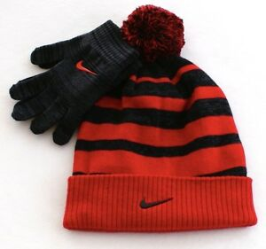 31b6245249e03 Nike Red   Gray Knit Cuff Pom Beanie   Stretch Gloves Youth Boy s 8 ...