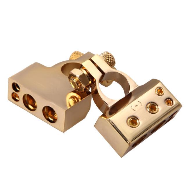 2PCS Gold Plated Gauge Car Battery Terminals Positive/Nagative F 1/0 0 2 4 8 AWG