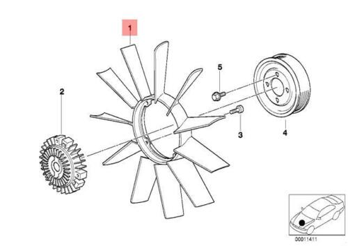 Genuine BMW Z3 Coupe Radiator Cooling Fan 11 Blade 420mm OEM 11527831113