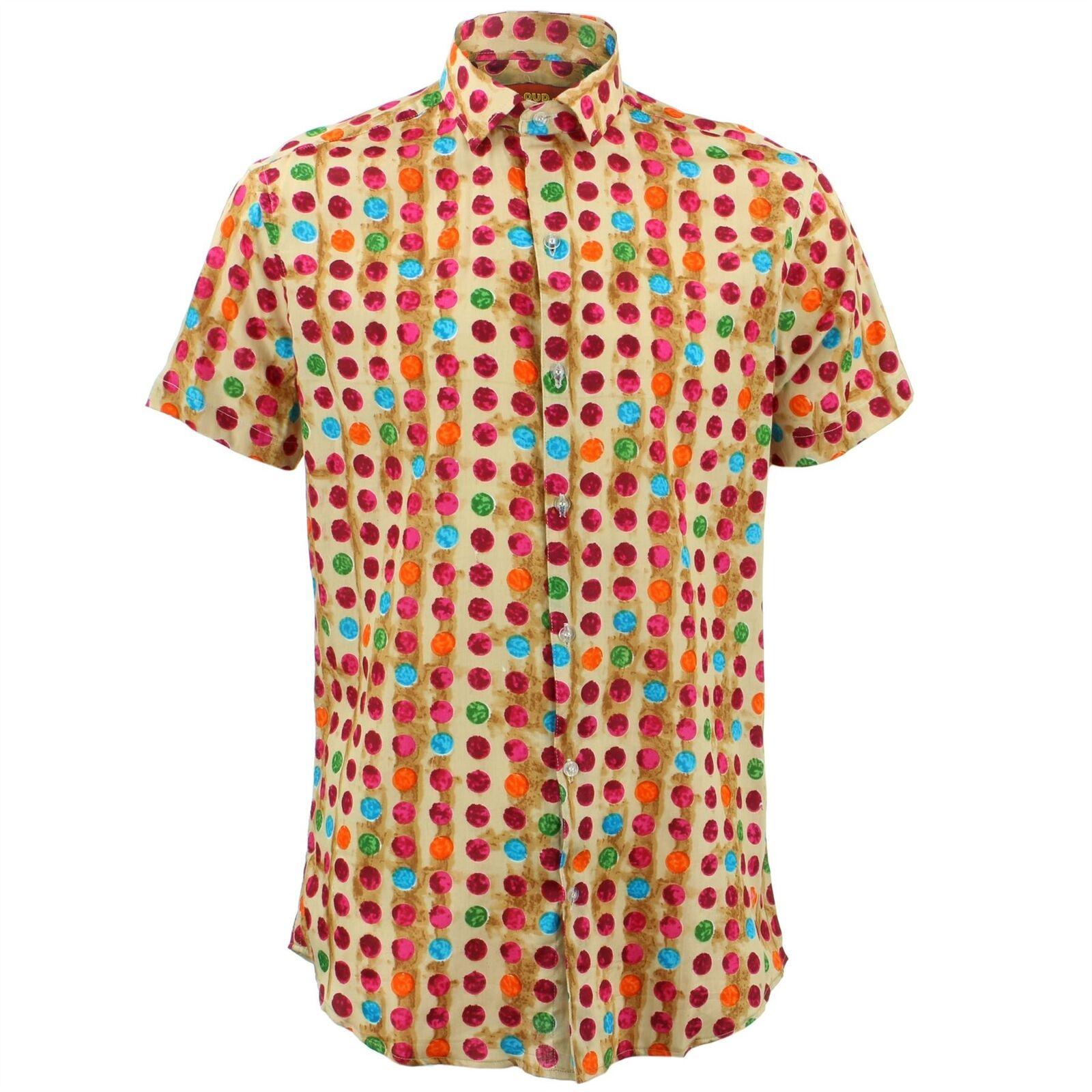 Herren Shirt Loud Originals Enganliegend Dotty Orange Retro Psychedelic Fancy  | Diversified In Packaging