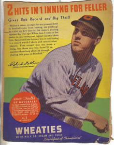 1938-Wheaties-Panel-Series-10-1-of-16-Baseball-Bob-Feller-Cleveland-Indians-Fr