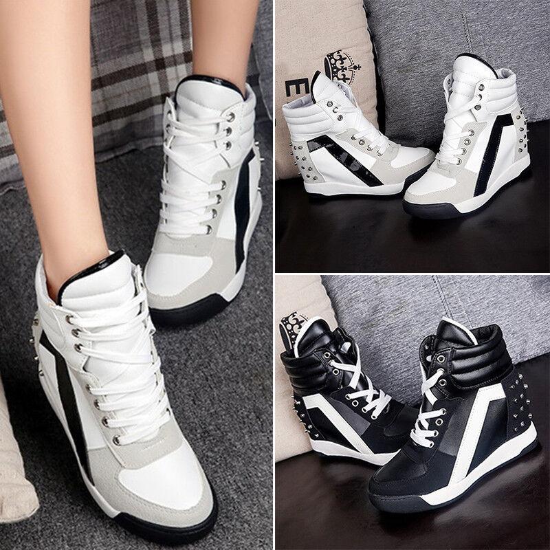 Dames Femmes Chaussures à Lacets Sport Rivets Cache Semelle Compensée Haut
