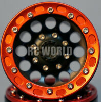 Rc 1/10 Scale Truck Rims Wheel 1.9 Rock Crawler Beadlock Cnc Metal Aluminum Red