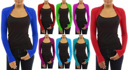 Womens Long Sleeved Bolero Shrug Jacket Top Ladies Cardigan Size 6-20*bolero