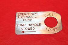 Emergency Hydraulic Pump Placard 137432L1