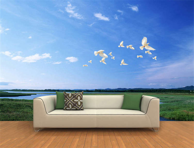 Weiß Pigeons River Full Wall Mural Photo Wallpaper Printing 3D Decor Kids Home