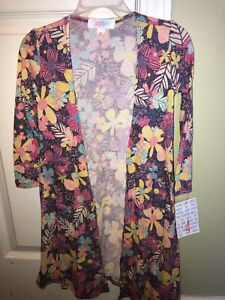 NWT-LuLaRoe-Colorful-Floral-Print-Open-Front-Sariah-Cardigan-Sweater-Girls-4-NEW