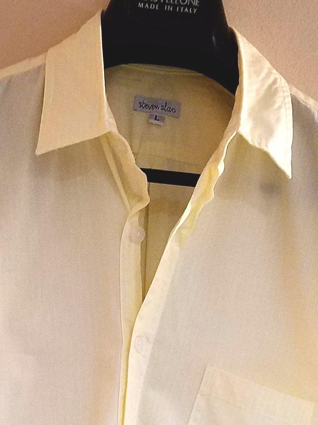 Steven Alan Yellow White Striped 100% Cotton Button-Front Casual Shirt Sz. L