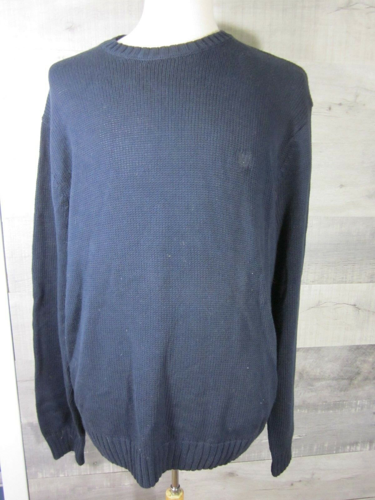 Chaps Mens Extra Large Navy bluee Sweater Long Sleeve Cotton Knit