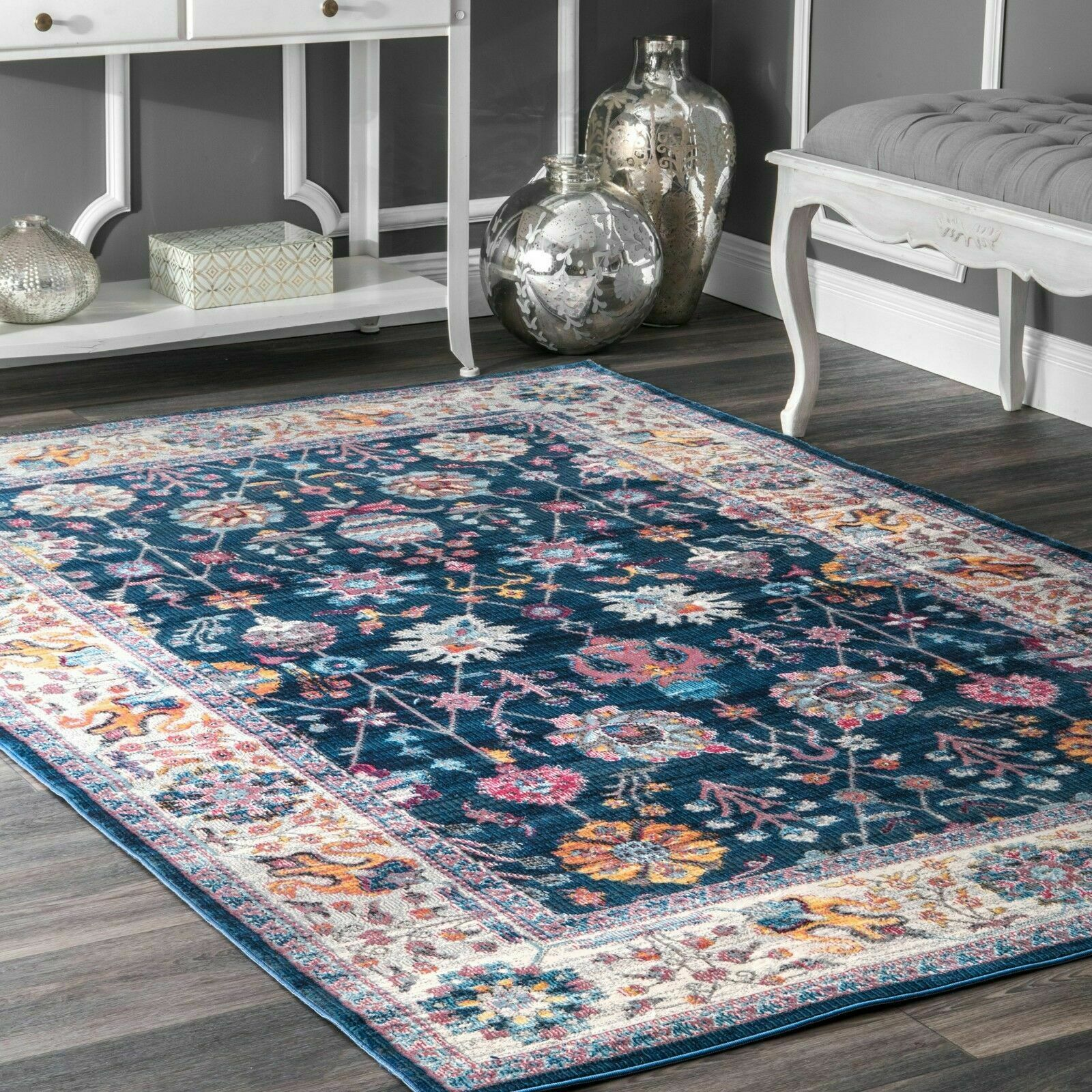 Picture of: Nuloom New Traditional Vintage Floral Area Rug In Navy Blue Purple Pink Multi For Sale Online