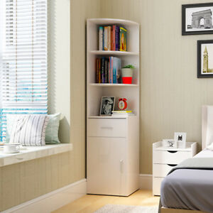 Tall Corner Stand Cupboard 3 Shelves Display Cabinet Storage Unit