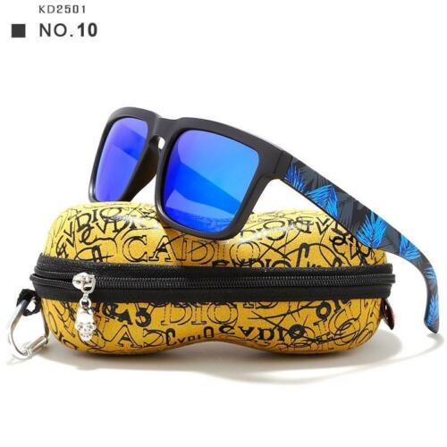 Mens Sunglasses Plastic Polarized Square Mirrored Beach Eyewear With Hard Case
