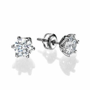 0.60 CT H/SI2 Natural Round Cut Diamond Stud Earrings 14K White Gold