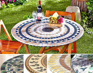 Fitted Mosaic Tablecloth In Hand Square Round Elastic
