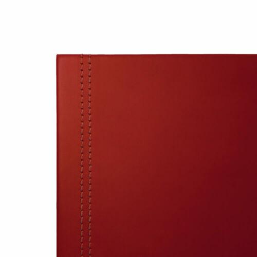 Gewinkelte Schreibtischunterlage Leder Bordeaux Rot Struktur aus Stahl cm 70x50
