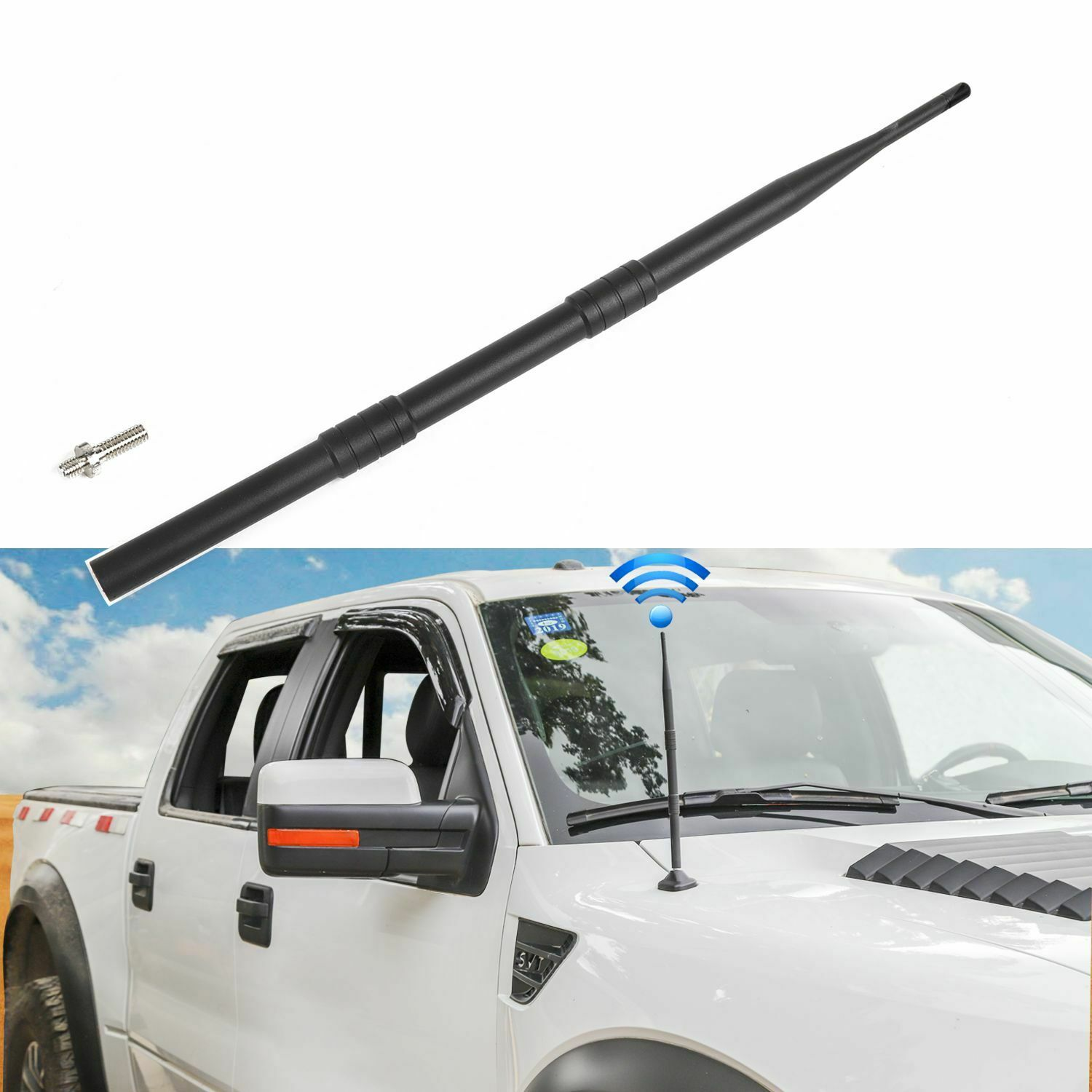 Antenna Replacement for 2009-2019 Ford F150 13 inches Flexible Rubber Antenna Designed for Optimized FM//AM Reception