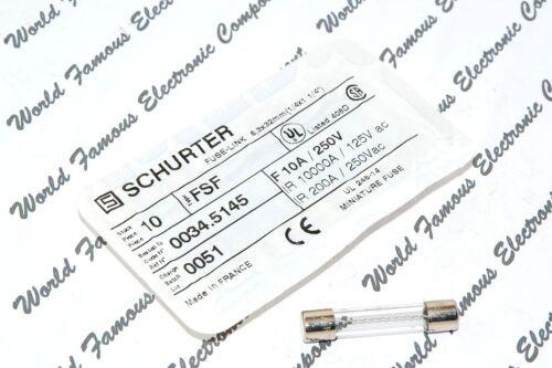 003F.5145 10A 250V 6.3x32mm Glass Fuse SCHURTER 1pcs FSF // F10//250V F