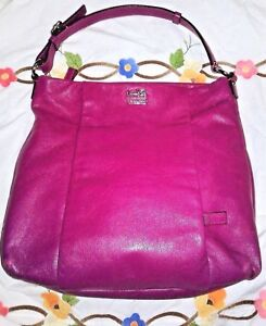Image Is Loading Coach Bag Fuchsia Pink Leather Double Side Pocket