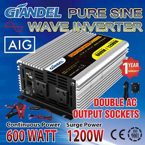 Pure Sine Wave Power Inverter 600W/1200W12V-240V Remote Controller USA Transists