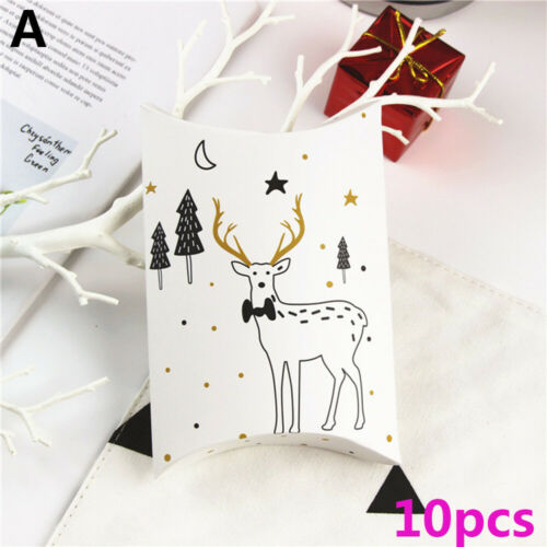 Elk Party Supplies Christmas Pillow Shape Box Paper Candy Boxes Kraft Gift Bag