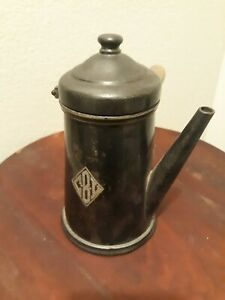 Vtg-Antique-WALLINGFORD-Hotel-Silver-Chocolate-Pot-Teapot-Coffee-wood-handle-7-034
