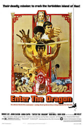 1973 ENTER THE DRAGON VINTAGE ACTION FILM MOVIE POSTER PRINT STYLE A 24x16 9 MIL