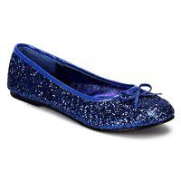 Cute Funtasma Blue Glitter Classic Ballet Bow Flats Cosplay Anime 5-12