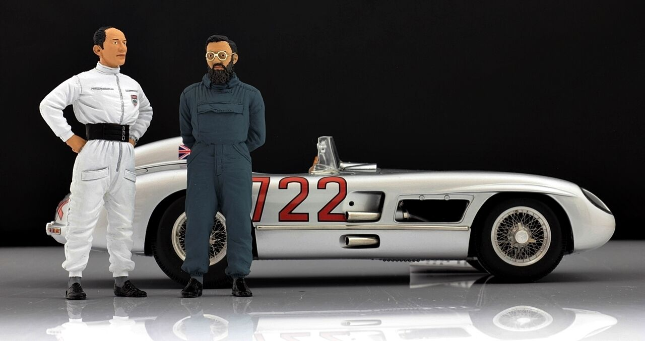 Moss & & & Jenkinson Figur für 1 18 CMC  Mercedes 300SLR Mille Miglia 1955  RAR cab67c