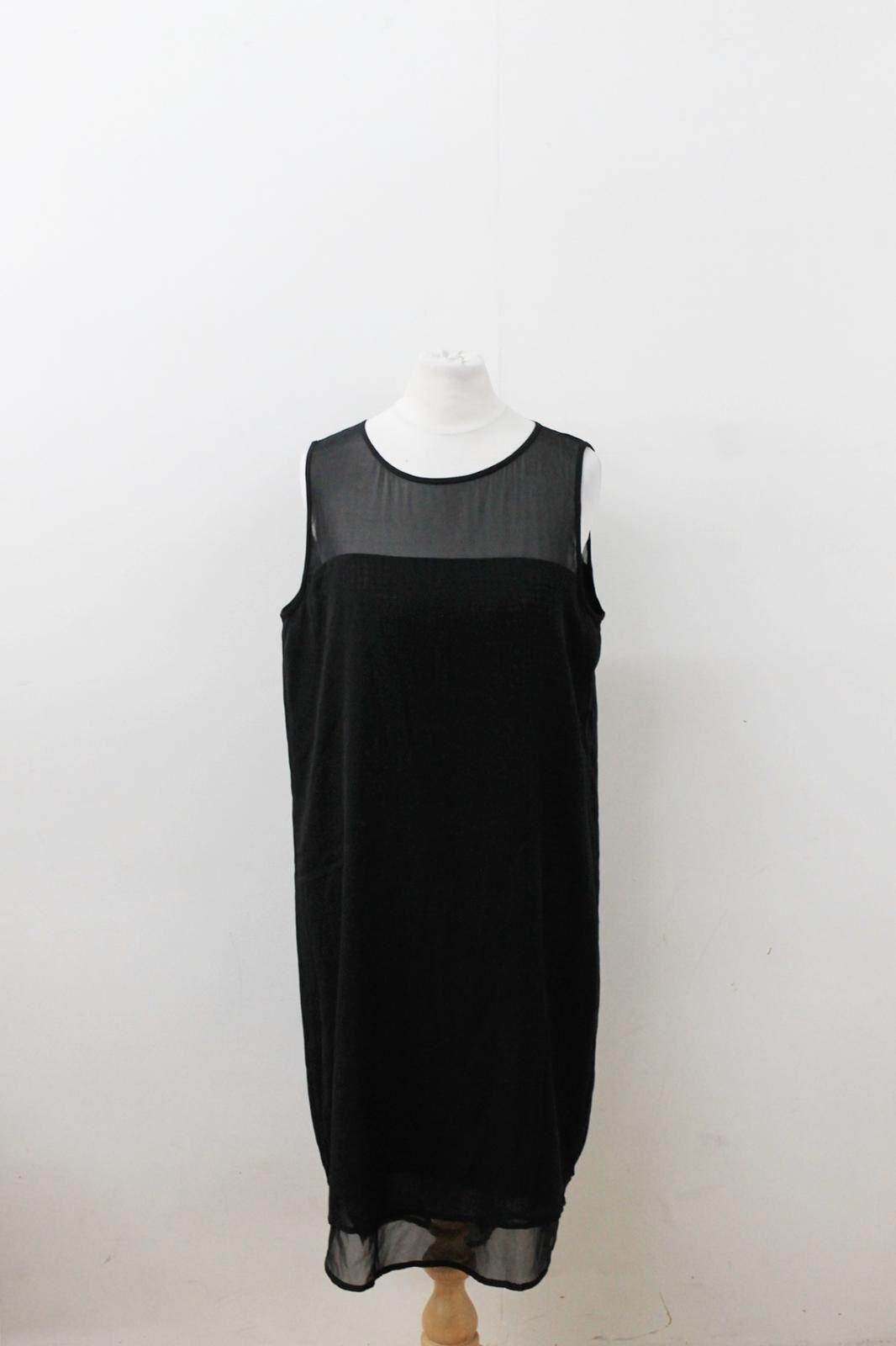 DKNY Ladies schwarz Silk Blend Sleeveless Sequined Double Layerot Dress Größe S