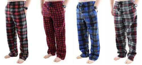 4 Pack Mens Pajama Pants Fleece Soft Plaid Lounge Sleep Bottoms with Pockets