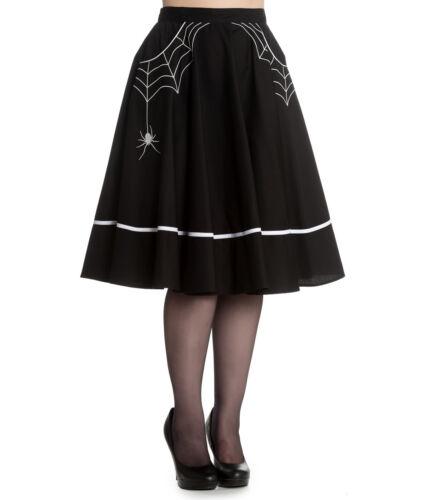 HELL BUNNY MISS MUFFET SKIRT 50s style SPIDER WEB rockabilly BLACK