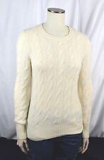$1.5K+ GORGEOUS Loro Piana cable BABY Cashmere Off White Crewneck 40 Small S