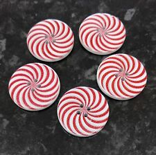 5 Large Wooden Red and white swirl lollipop Buttons 30mm