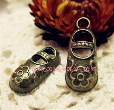 P647 15pc Antique Bronze shoes Pendant Bead Charms Accessories wholesale