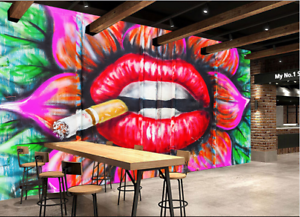 Papel Pintado Mural De Vellón Cigarrillo Labios reds 2 Paisaje Fondo Pansize