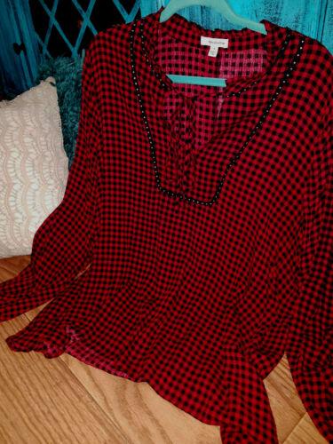 Red Black Buffalo plaid Chiffon Plus Sz Dress Blouse Tunic Peasant Boho Top 1X