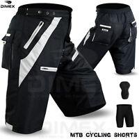 MTB Cycling Short Off Road Cycle CoolMax Padded Liner Shorts Black/Grey M to 2XL
