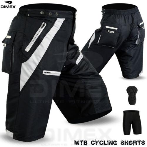 MTB Vélo Cycle court Off Road coolmax rembourrée liner Shorts Noir Gris M à 2XL