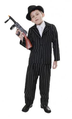 Childrens Boys Book Week Black Child Gangster Fancy Dress Outfit Dress Up