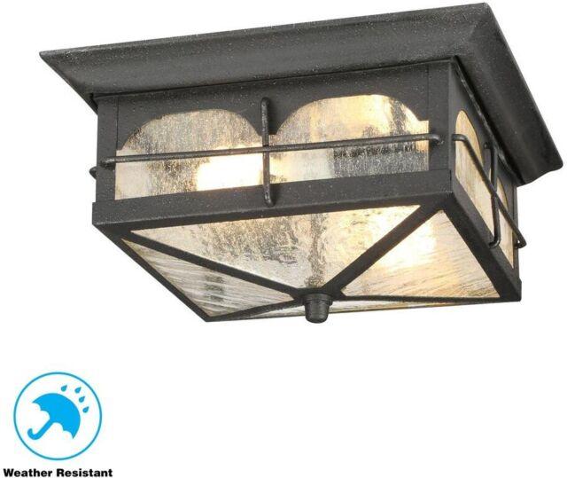 Home Decorators Collection Brimfield 2 Light Aged Iron Outdoor Flushmount