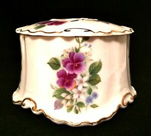 Porcelain-Trinket-Powder-Box-Floral-Violets-Gold-Trim-Vintage-3-inches-Tall