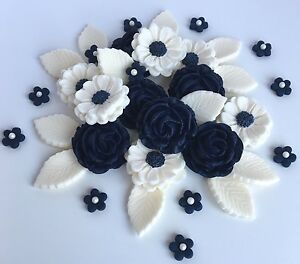 Details About Navy Blue White Roses Wedding Flowers Cake Decorations Edible Cake Toppers