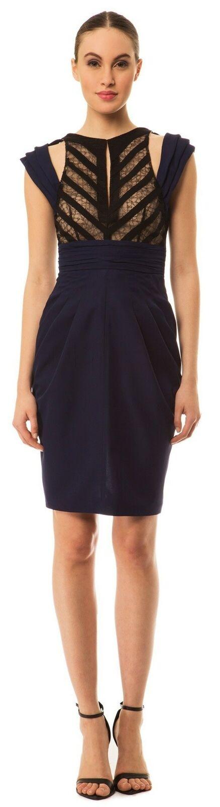 CATHERINE MALANDRINO Blau schwarz lace cutout shoulder dress SZ 4