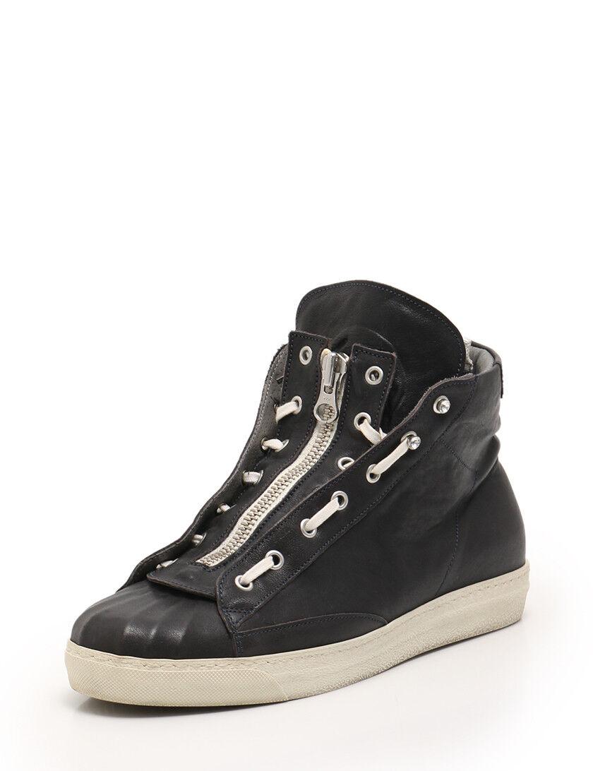 ALEXANDER MCQUEEN front zip High-top scarpe da ginnastica skull leather nero
