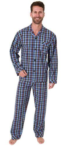 Herren Pyjama langarm Schlafanzug gewebt zum Knöpfen im Karo Design 65343