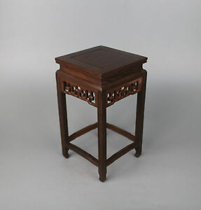 display-China-brown-hard-wood-carved-Ji-chi-wooden-square-base-stand-11-6inch