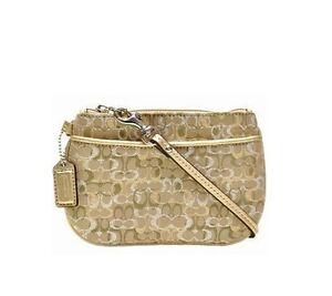 Image Is Loading Coach Gold Lurex Wristlet Clutch Metallic Leather