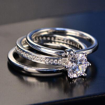 Three Rings Set Prong Set Never Loss Stone Women's Wedding Engagement Ring  SR135   eBay