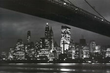 New York City (Brooklyn Bridge & Skyline at Night) Art Poster Print - 36x24